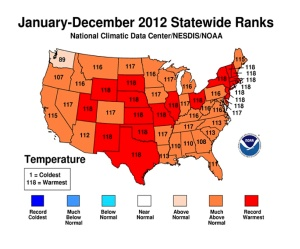 Temp Rank Map 2012 by State