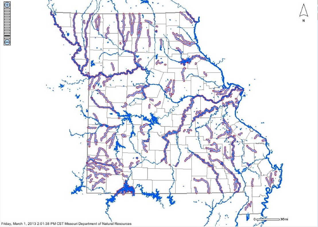 Map of Impaired Surface Water In Missouri  MoGreenStats