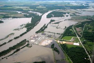 Missouri River Floods Ft. Calhoun Nuclear Generating Station, 2011. Wikimedia file: Corp of Eng. 6-16-11A. Original source: U.S. Army Corps of Engineers.