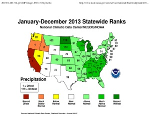 US Precip Anomalies 2013 map