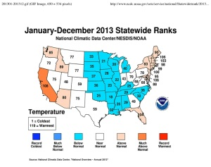 US Temp Anomalies Map, 2013