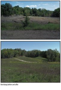 Harrisburg Mine before and after reclamation. Source: 2010-2011 Land Reclamation Program Biennial Report.