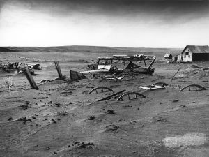 Is this what's in store for California? Dust Bowl, Dallas, South Dakota. Work found at https://en.wikipedia.org/wiki/File:Dust_Bowl_-_Dallas,_South_Dakota_1936.jpg .