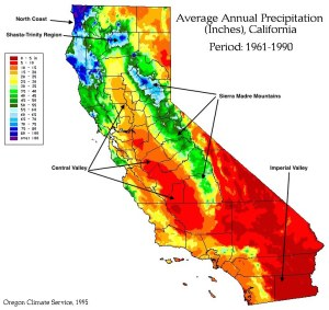 Figure 1: Average Annual Precipitation in California. Source: Western Regional Climate Center.