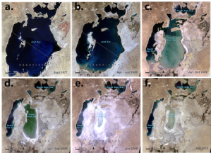 Figure 25: Satellite imagery shows the shrinking Aral Sea. Source: USGA/NASA; visualization by UNEP/GRID-Sioux Falls.