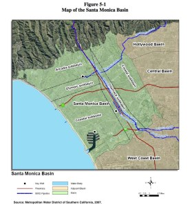 Figure 11: The Santa Monica Groundwater Basin, Showing the Charnock Subbasin. Source: Metropolitan Water District of Southern California, 2007.