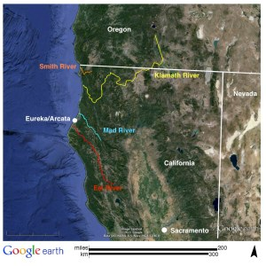 Figure 12: Four Rivers of the Klamath Mountains. Source: Google Earth.
