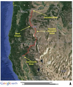 Figure 15: Possible Columbia River Diversion Route. Source: My tracing on Google Earth.