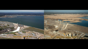 Folsom Lake in 2011 and 2014. Source: California Department of Water Resources via NASA.