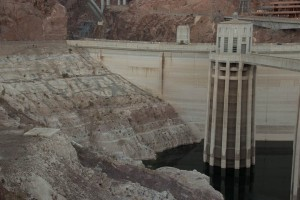 At Hoover Dam, low water in Lake Mead has exposed bleached rock that used to be covered by water. Photo by John May.