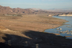 Large tracts of land have been exposed by the low water levels at Lake Mead.