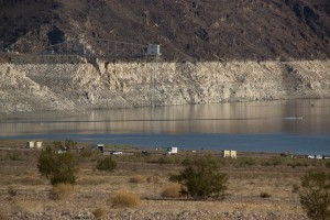 The old Las Vegas water intake has almost been uncovered by the low water level.