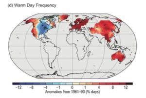 Figure 3: Global Warm Day Anomalies, 2014. Source: Blunden & Derek 2015.