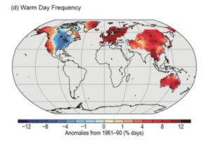 Figure 3: Global Warm Day Anomalies, 2014. Source: Blunden & Derek 2015.