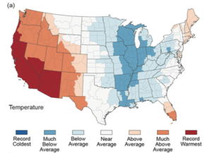 Figure 4: U.S. Temperature Anomalies, 2014. Source: Blunden & Derek 2015.
