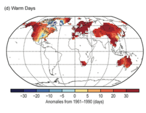 Figure 3. Warm Day Anomalies, 2015. Source: Blunden and Arndt 2016.